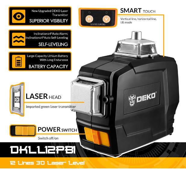 Лазерный уровень DEKO DKLL12PB1