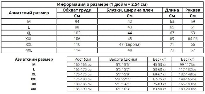 Размер куртки на АлиЭкспресс